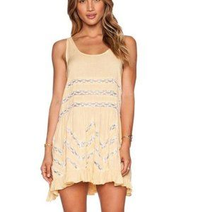 Free People Cream Combo Voile & Lace Trapeze Dress